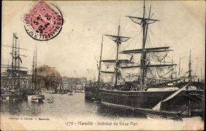 Ak Marseille Bouches du Rhône, Intérieur du Vieux Port, Segelschiffe im Hafen