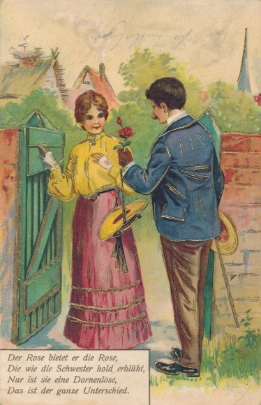 Präge Ak Der Rose bietet er die Rose, Liebespaar