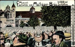 Ak München Bayern, Moment Aufnahme vom Mathäser Bräu bei 30 Grad im Schatten, Thermometer