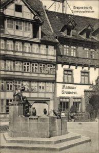Ak Braunschweig in Niedersachsen, Eulenspiegelbrunnen, Mumme Brauerei