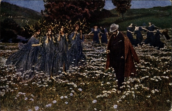 Künstler Ak Lenz, Max, Ein Leben, Tanzende Frauen auf einer Blumenwiese