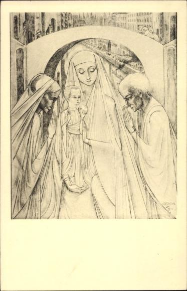 Künstler Ak Toorop, Jan, Jubileum, Maria mit Kind
