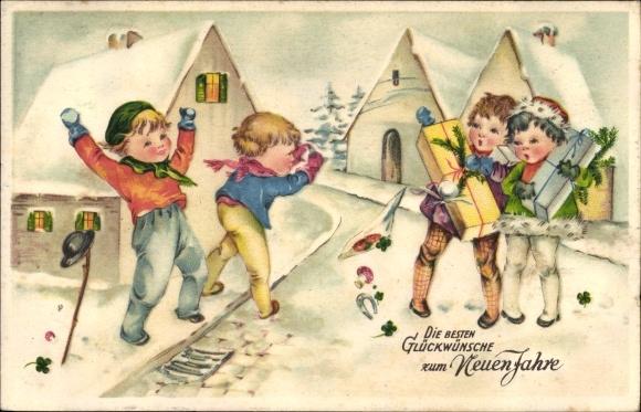 Ak Glückwunsch Neujahr, Kinder mit Geschenken, Hufeisen, Fliegenpilze, Amag 3155