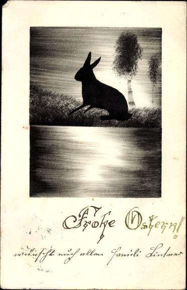 Handgemalt Ak Glückwunsch Ostern, Osterhase auf einer Wiese