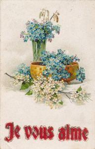 Glitzer Präge Litho Je vous aime, Vergissmeinnichtblüten, Blumenvase, Schale, Blütenzweig