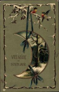 Präge Litho Glückwunsch Neujahr, Vögel auf verschneitem Ast, Mond, Waldlandschaft