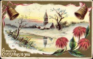 Präge Litho Glückwunsch Weihnachten, Merry Christmas to you, Glocke, Kirche, Blumen