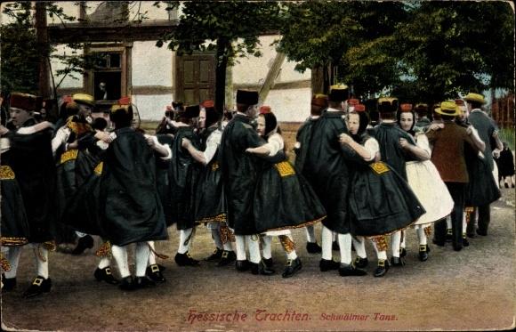 Ak Hessische Trachten, Schwälmer Tanz, tanzende Paare