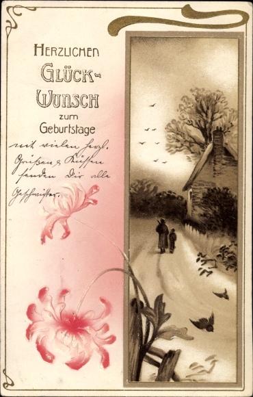 Präge Litho Glückwunsch Geburtstag, Zwei Personen auf einem Weg, Haus, Vögel, Blumen