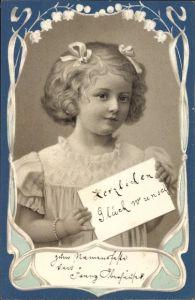Präge Litho Glückwunsch sonstige, Mädchen mit kurzen Haaren und Schleifen im Haar