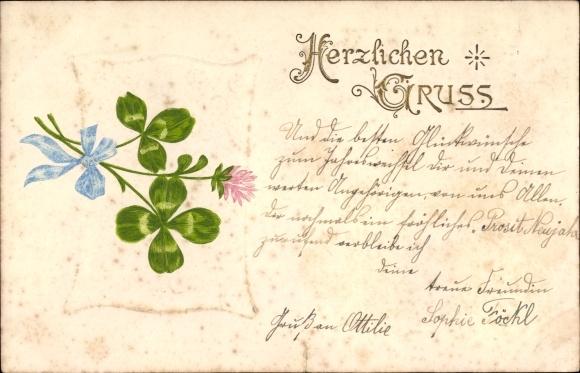 Präge Litho Herzlichen Gruß, Kleeblätter mit blauer Schleife, Kleeblüte