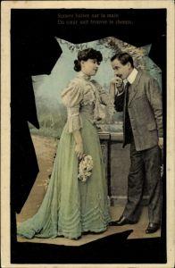 Passepartout Ak Sonore baiser sur la main, Du coeur sait trouver le chemin, Liebespaar