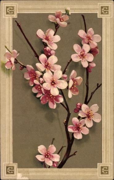 Präge Litho Blütenzweige, Ast mit rosa Blüten, Kitsch