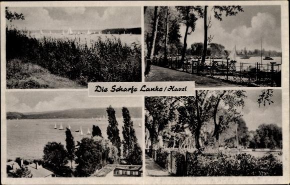 Ak Berlin Spandau Wilhelmstadt, Die Scharfe Lanke, Havel, Segelboote, Blick über die Bucht
