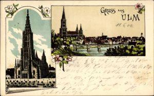 Litho Ulm an der Donau Baden Württemberg, Blick zum Münster, Panorama vom Ort