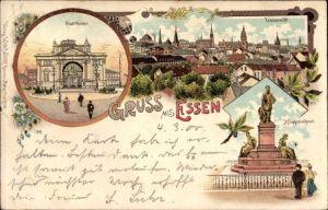 Litho Essen im Ruhrgebiet Nordrhein Westfalen, Stadttheater, Krupp Denkmal, Totalansicht