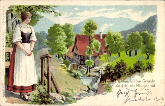 Präge Litho in einem kühlen Grunde da geht ein Mühlenrad, Wassermühle, Frau