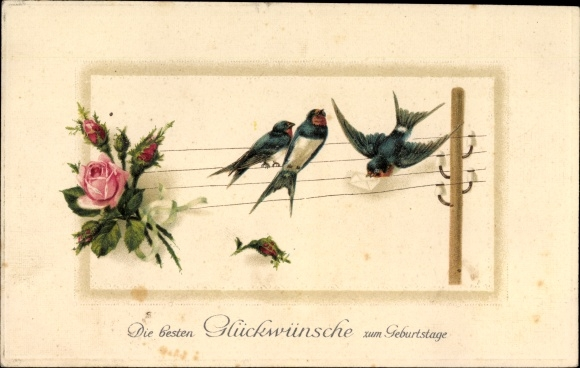 Präge Litho Glückwunsch Geburtstag, Schwalben auf einem Strommast, Rosen