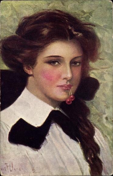 Künstler Ak Underwood, Clarence, Reife Kirschen, Portrait einer jungen Frau