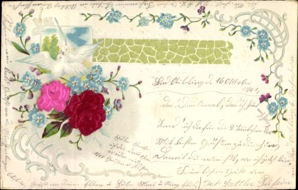 Material Präge Litho Rosenblüten, Vergissmeinnicht, zwei weiße Tauben
