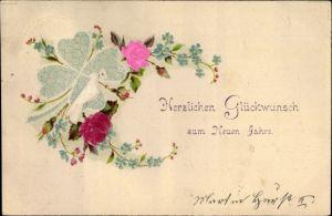Material Präge Litho Glückwunsch Neujahr, Brieftaube, Kleeblatt, Rosen, Vergissmeinnichtblüten