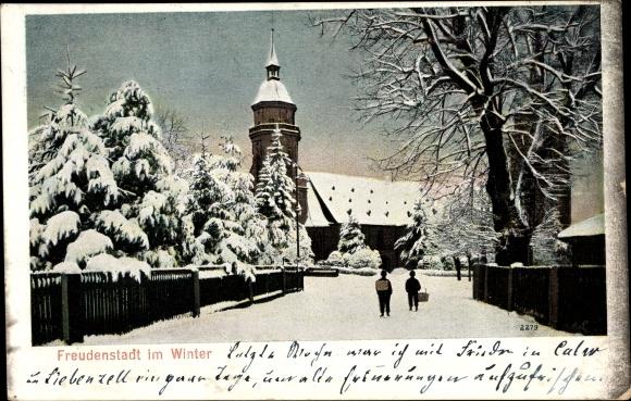 Ak Freudenstadt im Nordschwarzwald, Partie im Ort im Winter