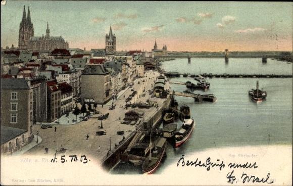 Ak Köln am Rhein, Partie am Rheinufer, Binnenschiffe, Dom, Altstadt