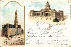 Litho Bruxelles Brüssel, Palais de Justice, Hotel de Ville, Justizpalast, Rathaus