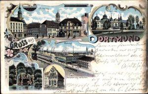 Litho Dortmund im Ruhrgebiet, Marktplatz, Fredenbaum, Bahnhof, Kronenburger Garten, Gildenhaus