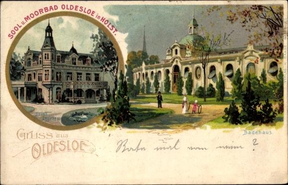 Litho Bad Oldesloe in Schleswig Holstein, Neues Logierhaus, Badehaus, Parkansicht
