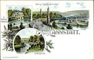 Litho Cannstatt Stuttgart in Baden Württemberg, König Karls Brücke, Schloss Wilhelma, Inselspitze