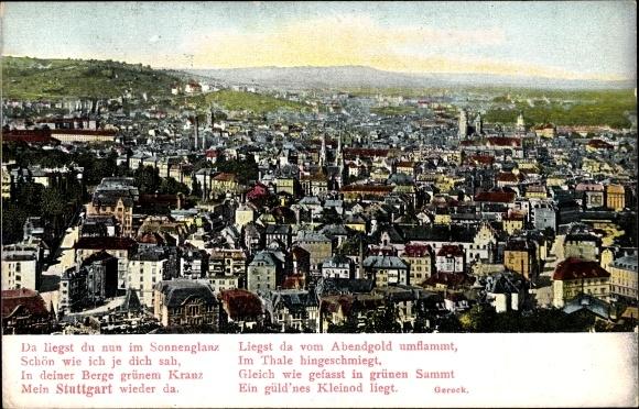 Gedicht Ak Stuttgart in Baden Württemberg, Panoramablick auf die Stadt, Gedicht von Gerok