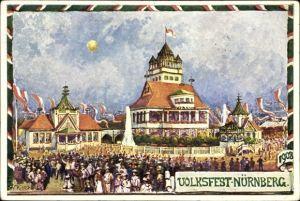 Ganzsachen Künstler Ak Ritter, W., Nürnberg in Mittelfranken Bayern, Volksfest 1908