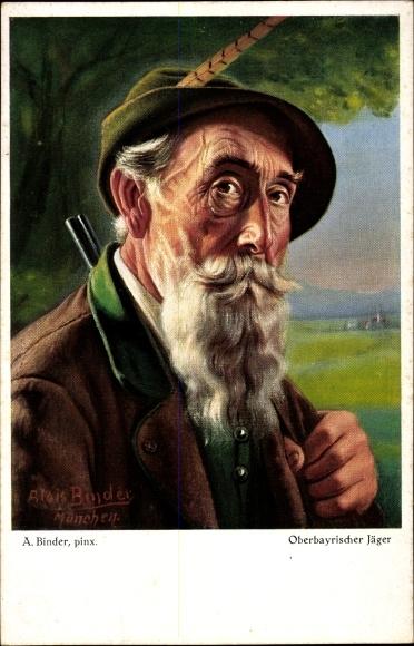 Ak Oberbayrischer Jager Mit Hut Und Flinte Nr 7640345 Oldthing