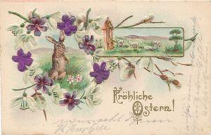 Präge Stoff Litho Glückwunsch Ostern, Osterhase, Weidenkätzchen, Veilchen, Lämmer