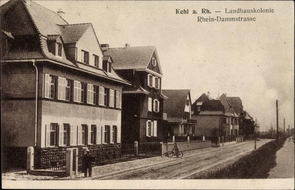 Ak Kehl am Rhein Ortenaukreis Baden Württemberg, Landhauskolonie, Rhein-Dammstraße