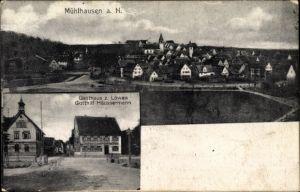 Ak Mühlhausen Neckar Stuttgart, Gasthaus zum Löwen, Inh. Gotthilf Häussermann, Ortschaft