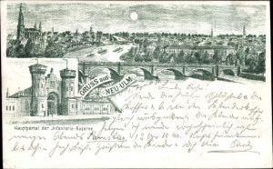 Litho Neu-Ulm in Schwaben, Totalansicht vom Ort, Hauptportal der Infanteriekaserne