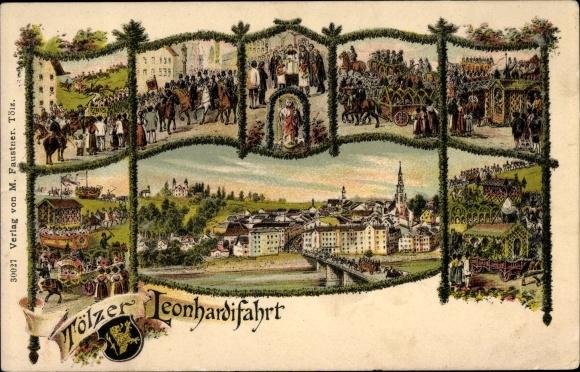 Litho Bad Tölz im Isartal Oberbayern, Leonhardifahrt, Teilansichten