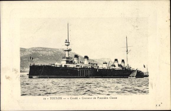 Ak Toulon Var, Französisches Kriegsschiff, Condé, Croiseur de Première Classe