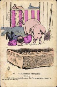 Künstler Ak Gauloiseries Francaises, Schwein neben liegendem Mann, Futtertrog