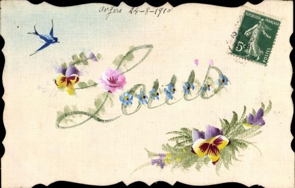 Handgemalt Ak Blauer Vogel mit weißen Blumen im Schnabel Nr. 1613486 ...