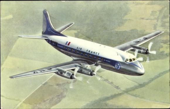 Ak Air France, Vickers Viscount, Propellermaschine im Flug, Passagierflugzeug 0