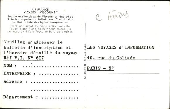 Ak Air France, Vickers Viscount, Propellermaschine im Flug, Passagierflugzeug 1