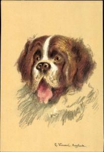 Künstler Ak Vincent, H., Hundeportrait, Bernhardiner, Saint Bernard