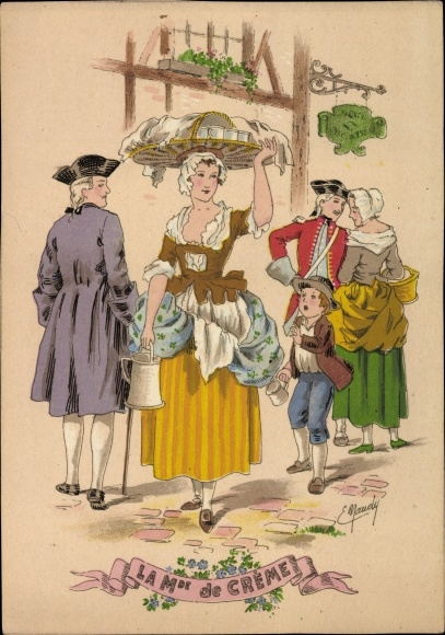 Künstler Ak Maudy, Marchande de Creme, Sahnehändlerin, E., les petits metiers au XVIIIe
