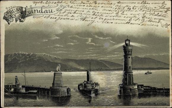 Mondschein Litho Lindau in Bodensee Schwaben, Hafeneinfahrt, Leuchtturm, Dampfer