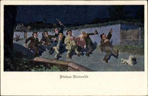 Künstler Ak Pfälzer Weinreise, betrunkene Männer auf der Straße
