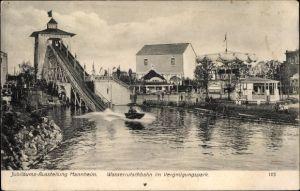 Ak Mannheim in Baden Württemberg, Jubiläums Ausstellung 1907, Wasserrutschbahn im Vergnügungspark