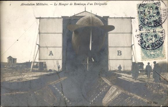 Ak Aérostation Militaire, Le Hangar de Remisage, d'un Dirigéable,Französische milit. Luftschiffhalle